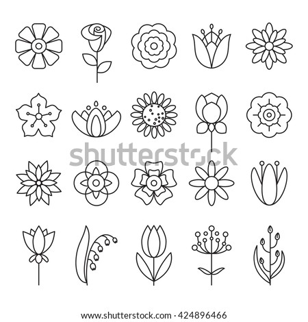 Flower icon with outline style vector design elements. Liner flower icon set. Universal flower icon to use in web and mobile UI, flower basic UI elements set. , Flower icon  Sign,  Flower icon  Art  - stock vector