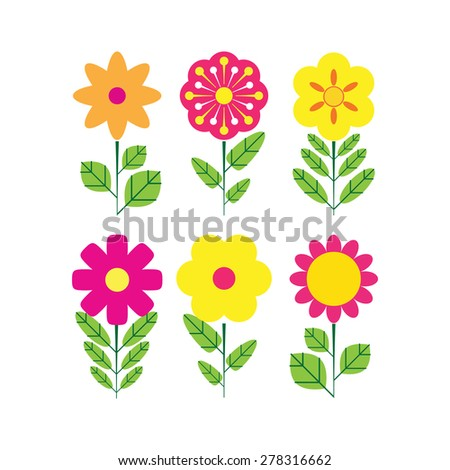 Flower Icons for Pattern. Vector illustration - stock vector