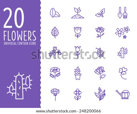 Flower Icons for Pattern with White Background, simple linear style purple - stock vector