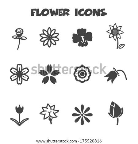 flower icons, mono vector symbols  - stock vector