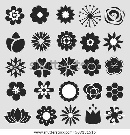 Flower Icons Set Decorative Floral Symbols Stock Vector 589131515