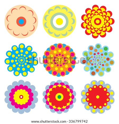 Flower icons set for pattern isolated on white background, vector flower logo icon collection