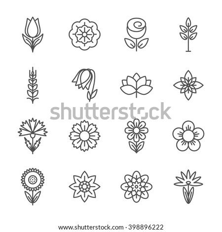 Flower icons set. Modern Thin Contour Line.  - stock vector