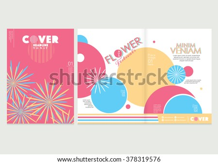 Flower illustrations with text/ Flora themed book cover design/ Magazine layout/ Vector illustrations/ Japanese pattern and design elements/ Brochure template/ Spread pages layout design/ - stock vector