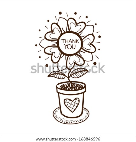 Flower in a pot with thank you text. Sketch vector illustration - stock vector
