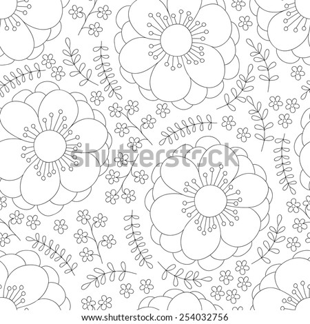 Flower ink doodle seamless pattern. Floral vector background. Black and white. - stock vector