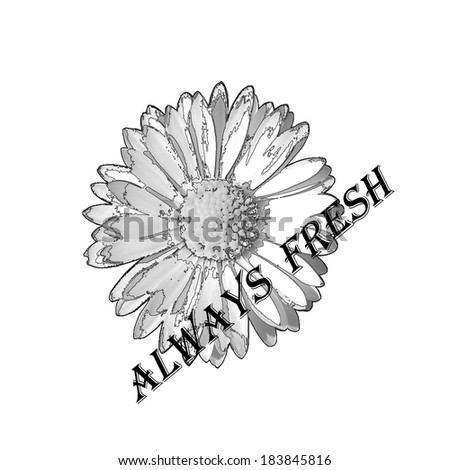 Flower label with always fresh text on white background