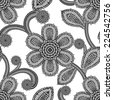 Flower lacy seamless background, floral pattern. Vector - stock vector