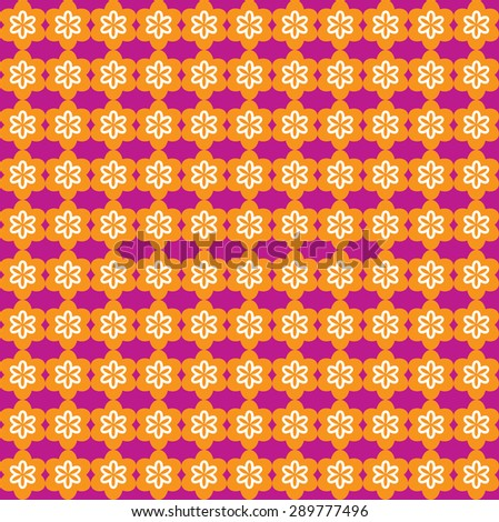 Flower Line Seamless Pattern - Orange and Purple - stock vector