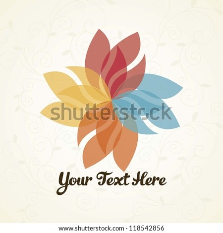 Flower logo with vintage background - stock vector