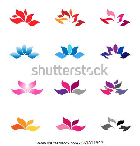 Flower logotypes and icons. Zen flower. Flower vector. - stock vector