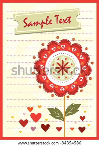 Flower love card - stock vector