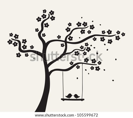 Flower love tree silhouette. Vector illustration - stock vector