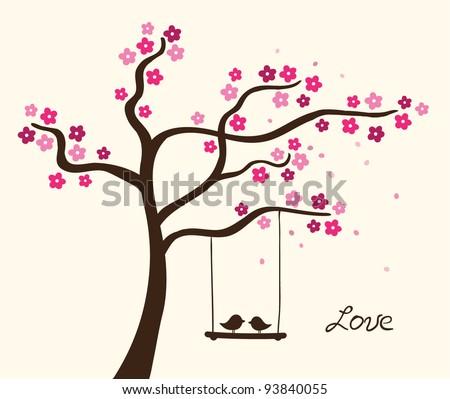 Flower love tree. Vector illustration - stock vector