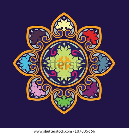 Flower mandala ornament - stock vector