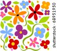 Flower meadow  background - colorful vector - stock vector