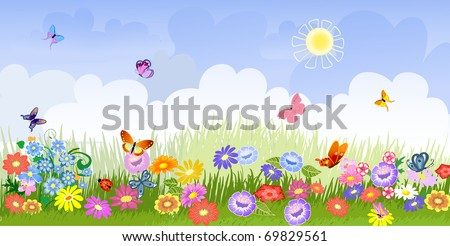 flower meadow panorama - stock vector