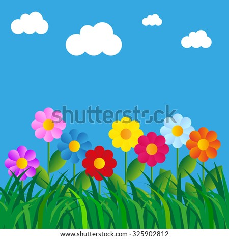 flower meadow with blue sky and white clouds