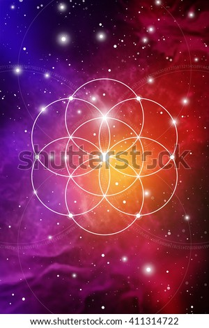 Flower of life - the interlocking circles ancient symbol on outer space background. Sacred geometry. Fibonacci row. The formula of nature. Self-knowledge in meditation.  - stock vector