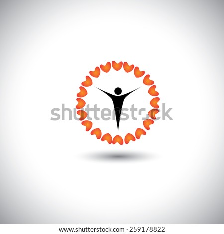 flower of love hearts with compassionate person in the center - concept vector icon. This graphic also represents harmony hope humaneness balance empathy - stock vector