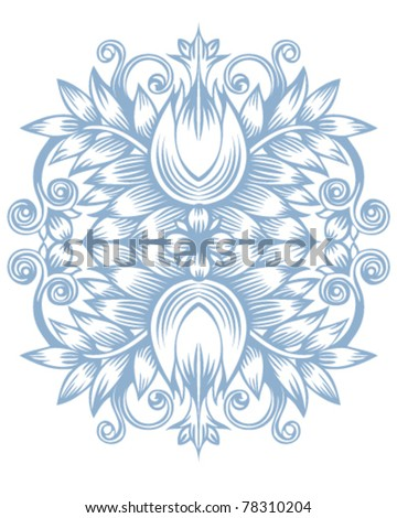 Flower of ornament outline illustration - stock vector