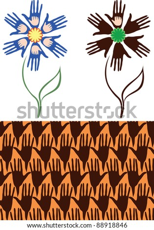 Flower of the palms. Hands mother and baby. Seamless background from his hands. Variant of the flower, where children only palm of one hand - the problem of childlessness. - stock vector