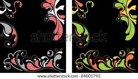flower ornamental elegant black background vector - stock vector