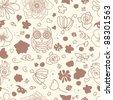 flower owl pattern - stock photo