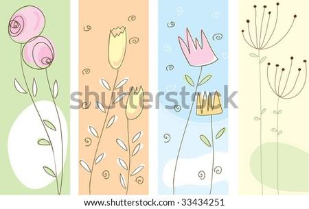 Flower Panels - set of loose sketched flowers - stock vector