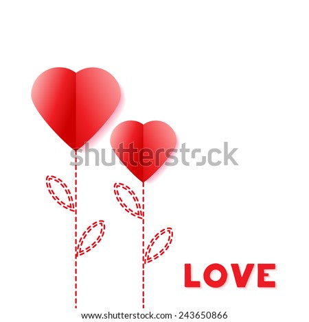 Flower Paper Heart. Happy Valentines Day Greeting card. Suitable for various designs, invitation and scrapbook. Vector illustration EPS 10 - stock vector