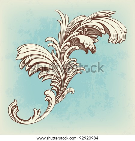 flower pattern engraving scroll motif for vintage design card vector - stock vector