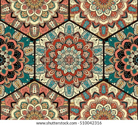 Flower Pattern Seamless Blue Brown Tile Boho Background Intricate Floral Hexagon Design Element For