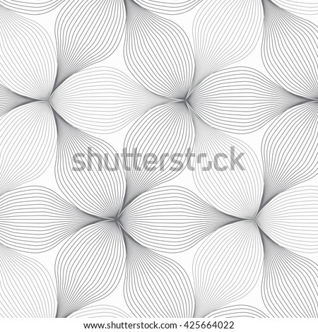 flower pattern vector, repeating linear petal of flower, monochrome stylish - stock vector