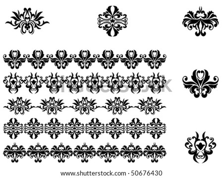 Flower patterns and borders for design and ornate. Jpeg version also available in gallery - stock vector