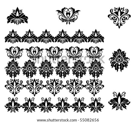Flower patterns and borders for design. Jpeg version also available in gallery - stock vector