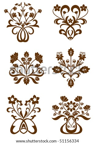 Flower patterns isolated on white for design and ornate. Jpeg version also available in gallery - stock vector