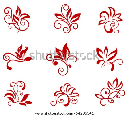 Flower patterns isolated on white. Jpeg version also available in gallery - stock vector