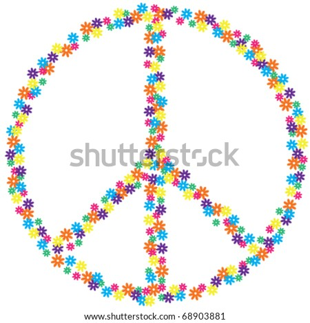 Flower Peace Sign - stock vector