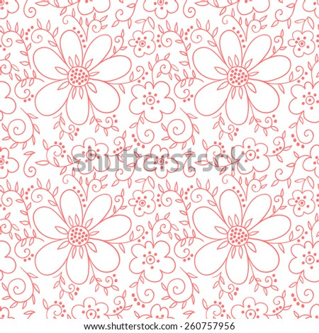 Flower pink seamless pattern. Floral  vector background