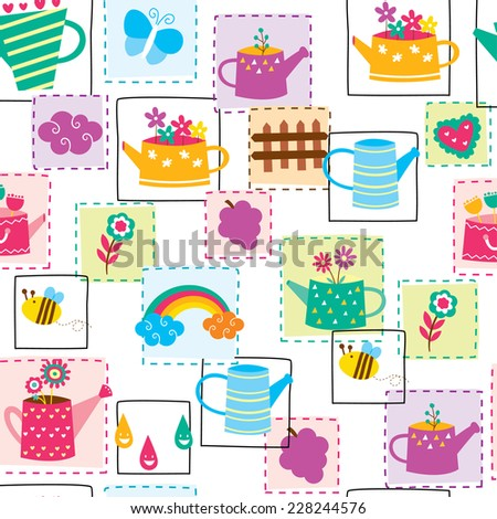 flower pot seamless wallpaper design - stock vector