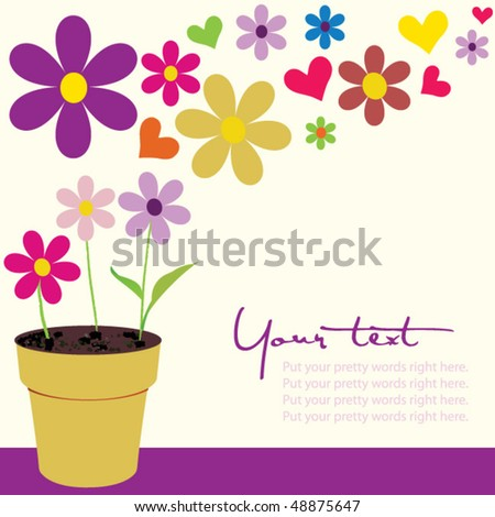 flower pot with copy space - stock vector