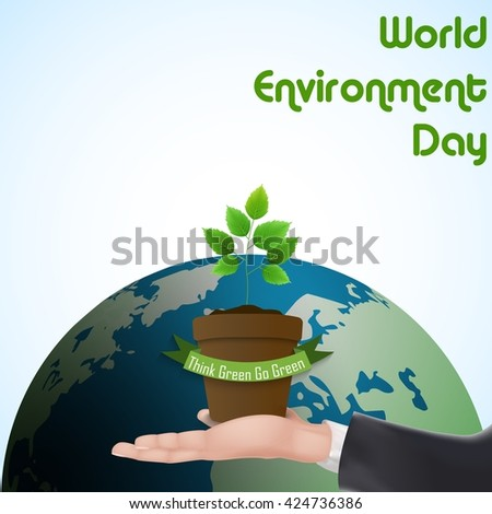 Flower Pot with green ribbon concept over hand for world environment day.Vector - stock vector
