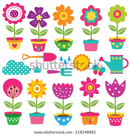 flower pots and gardening tools clip art set - stock vector