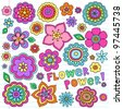 Flower Power Flowers Groovy Psychedelic Hand Drawn Notebook Doodle Design Elements Set on Lined Sketchbook Paper Background- Vector Illustration - stock vector