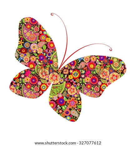Flower print with butterfly - stock vector
