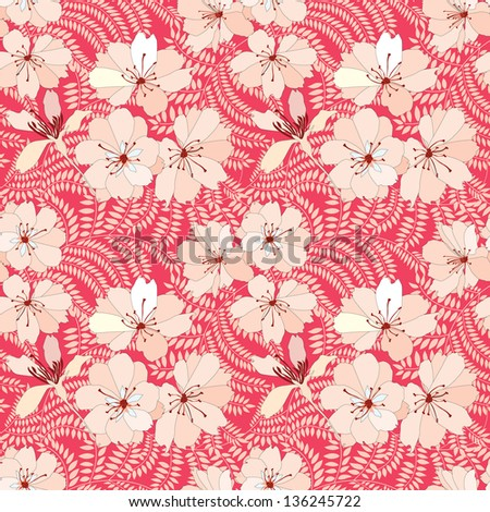 Flower seamless background. Floral vector pattern.