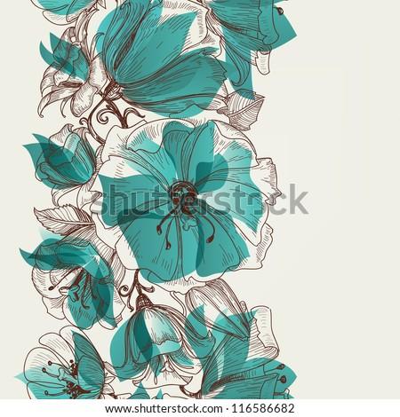 Flower seamless pattern vector - stock vector
