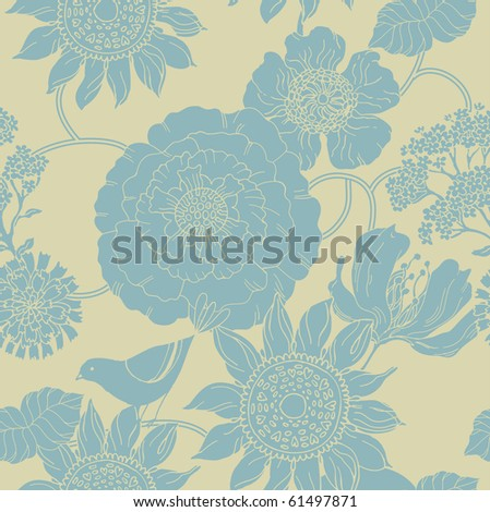 flower seamless pattern with bird - stock vector