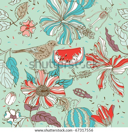 flower seamless pattern with bird and watermelon - stock vector