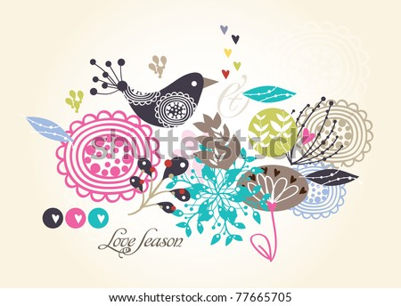 flower seamless pattern with bird (for fabric pattern, wallpaper or wrapping paper) - stock vector